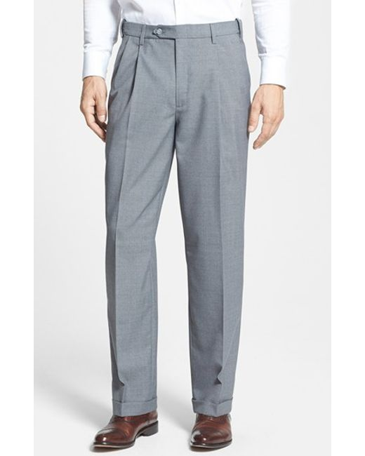 Berle Self Sizer Waist Pleated Trousers In Gray For Men