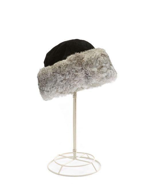 Surell | Black Suede Rabbit Fur-trimmed Hat | Lyst