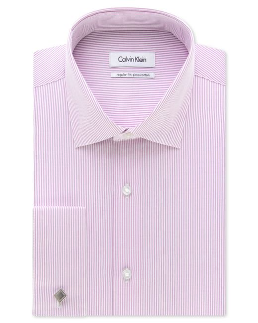 Calvin klein steel classic fit non iron performance grape for Purple french cuff dress shirt