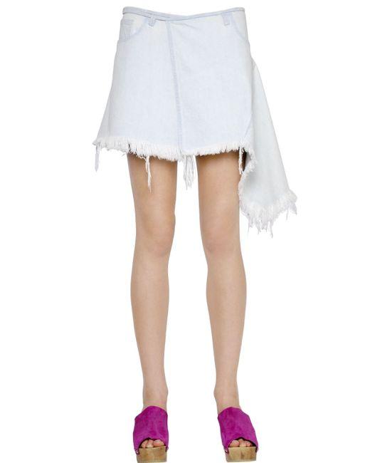 marques almeida asymmetrical cotton japanese denim skirt