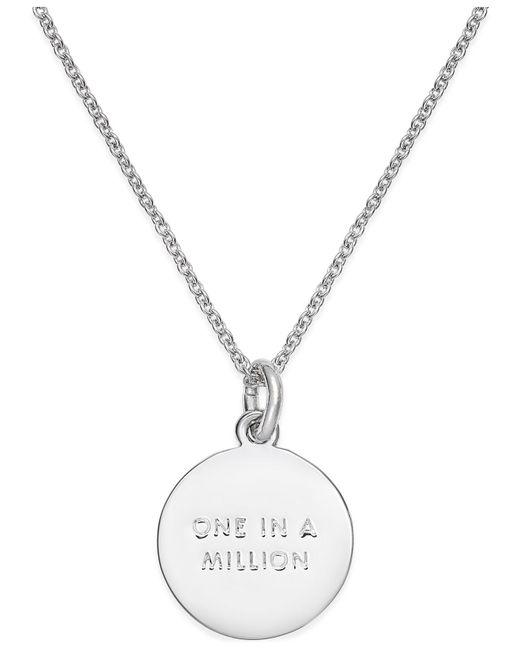 "Kate Spade | Metallic Silver-tone ""k"" Disc Pendant Necklace | Lyst"
