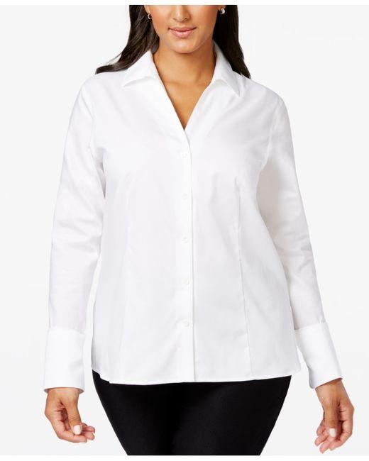 calvin klein plus size no iron button down shirt in white