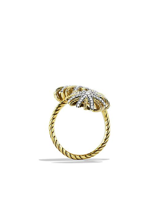 David Yurman | Metallic Starburst Open Ring With Diamonds In 18k Gold | Lyst