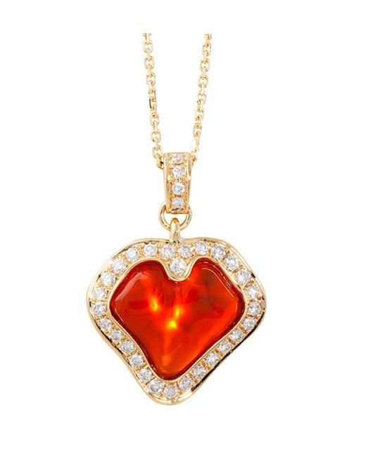 Katherine Jetter | Red Fire Opal Petal Pendant | Lyst