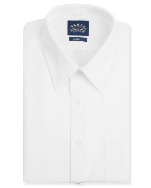 eagle men 39 s slim fit non iron white pinpoint dress shirt ForWhite Non Iron Dress Shirts