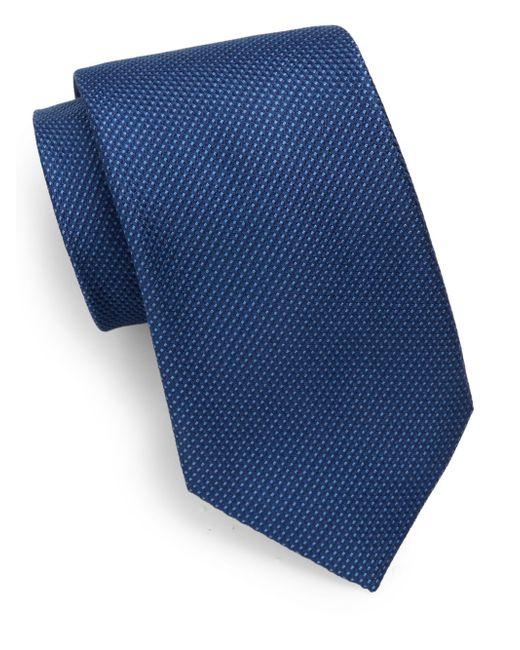 Saks Fifth Avenue | Blue Textured Silk Tie for Men | Lyst