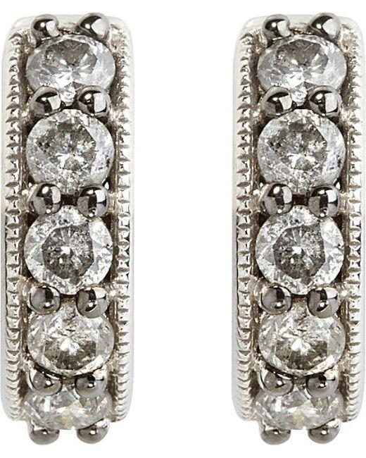 Annoushka | Metallic Dusty Diamonds 18ct White-gold And Diamond Hoop Earrings | Lyst