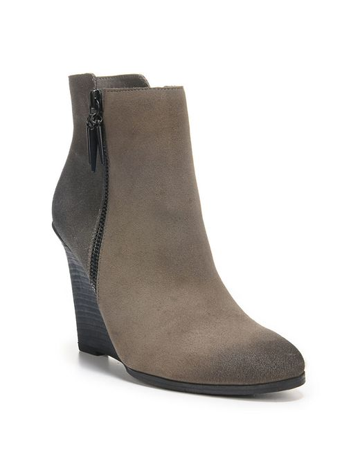 fergie suede wedge ankle boots in brown grey