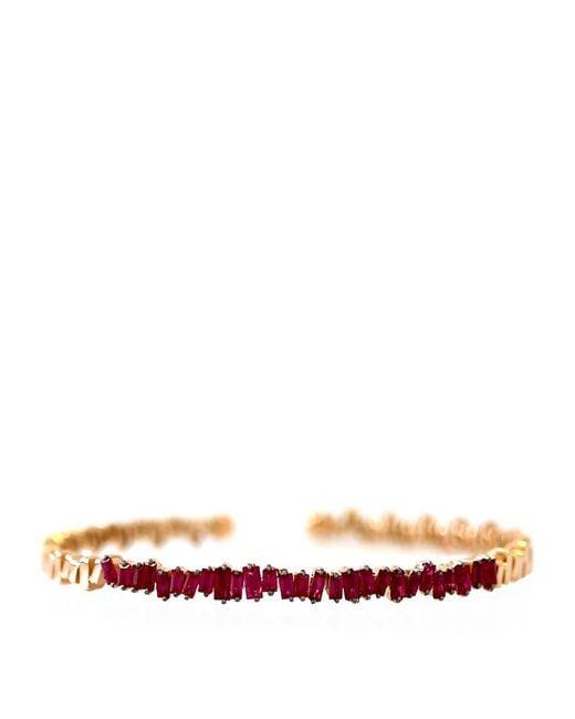 Suzanne Kalan   Metallic Rose Gold Ruby Flexi Bangle   Lyst