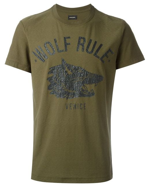 Diesel Wolf Print T Shirt In Green For Men Save 30 Lyst