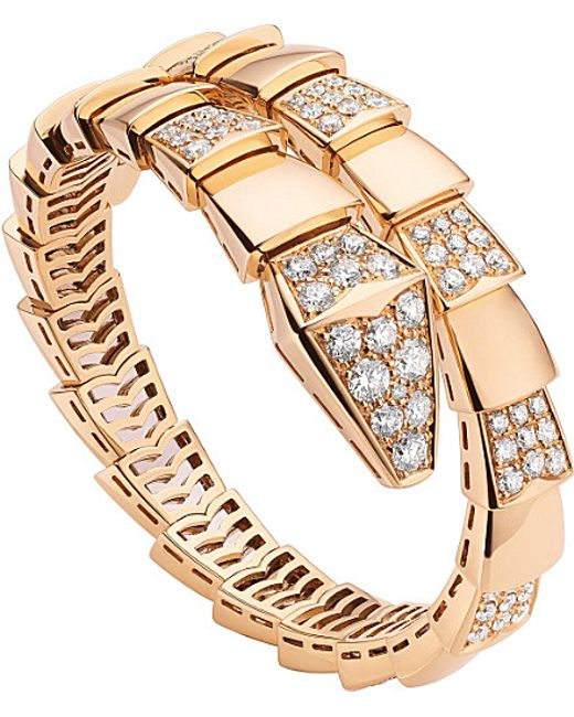 BVLGARI | Serpenti 18kt Pink-gold And Pavé-diamond Bracelet | Lyst