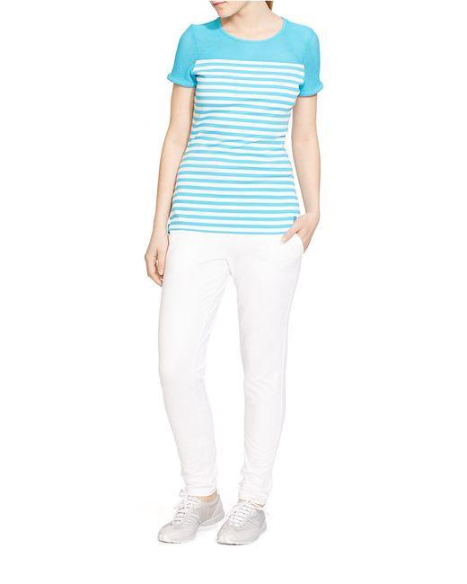 Lauren by Ralph Lauren | Blue Striped Mesh-yoke Top | Lyst