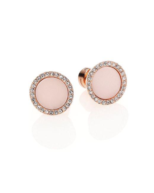 Michael Kors | Pink Rose & Blush Pave Stud Earrings | Lyst