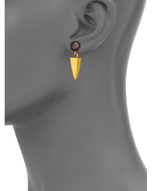 Lizzie Fortunato | Metallic Dagger 6mm-6.5mm Peacock Round Pearl Drop Earrings | Lyst