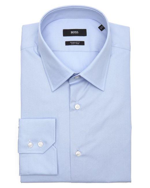 Boss bright blue cotton point collar dress shirt in blue for Bright mens dress shirts
