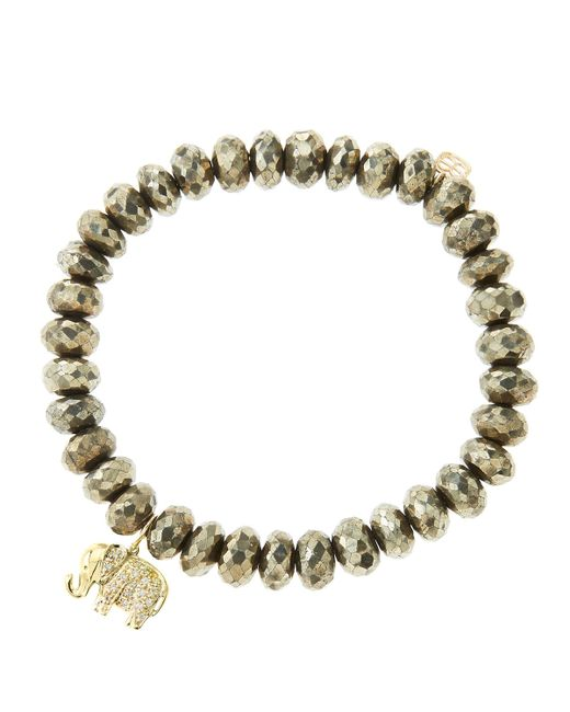 Sydney Evan   Metallic 8Mm Faceted Champagne Pyrite Beaded Bracelet With 14K Gold/Diamond Small Elephant Charm (Made To Order)   Lyst
