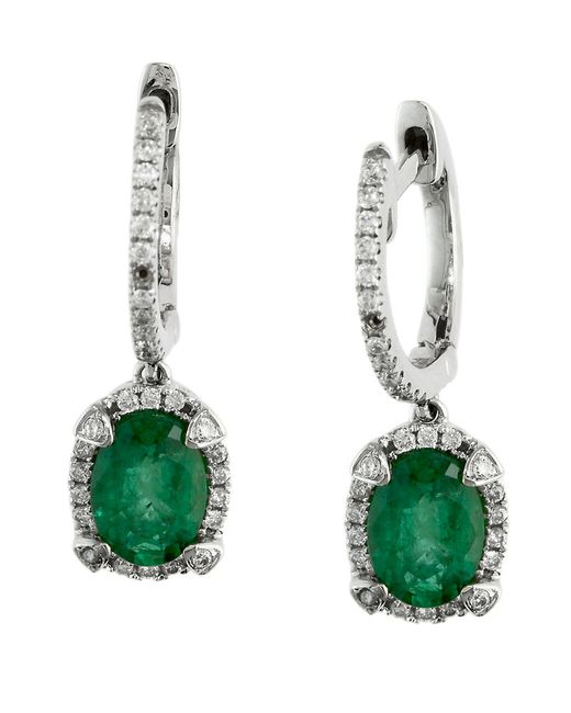 Effy | Green Brasilica Emerald, Diamond And 14k White Gold Drop Earrings | Lyst