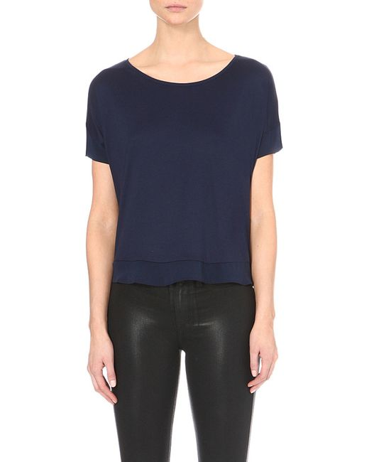 French Connection | Blue Plain French Short-sleeved Top | Lyst