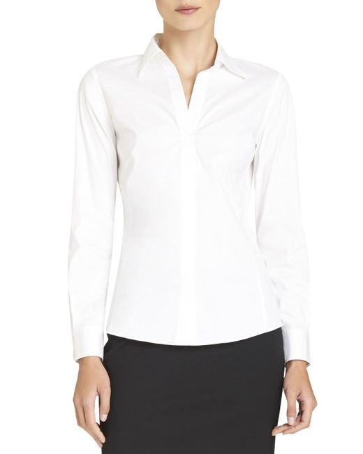 Lafayette 148 New York | White Katie Side-zip Blouse | Lyst