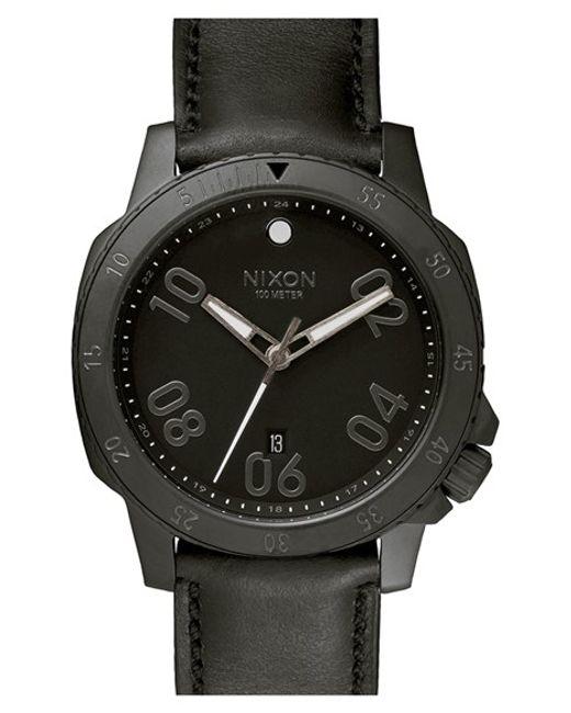 Nixon | Black 'the Ranger' Leather Strap Watch for Men | Lyst