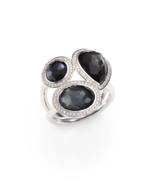 Ippolita | Black Hematite Doublet, Diamond & Sterling Silver Ring | Lyst