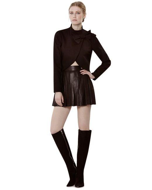 Alice + Olivia   Black Box Pleat Leather Skirt   Lyst