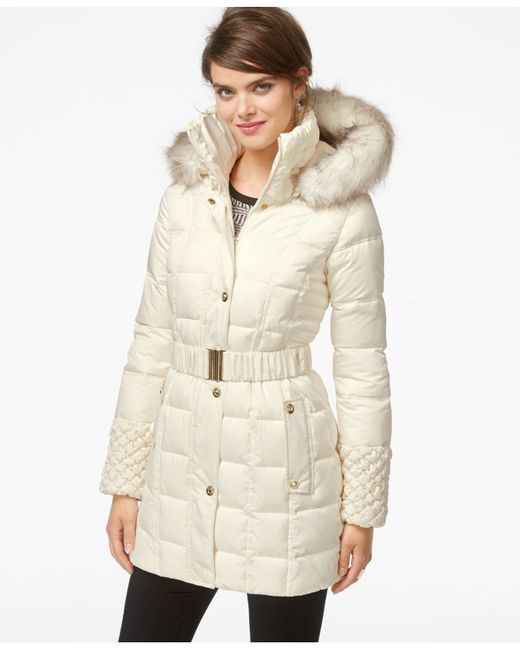 Betsey Johnson Faux Fur Hood Belted Puffer Coat In White