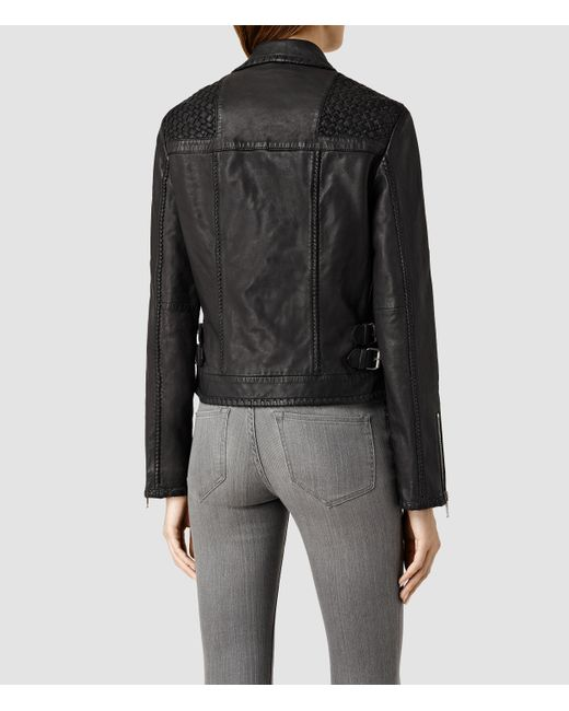 AllSaints | Black Papin Leather Biker Jacket | Lyst