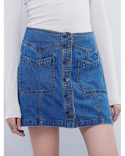 Free People | Blue I See You Denim Skirt | Lyst
