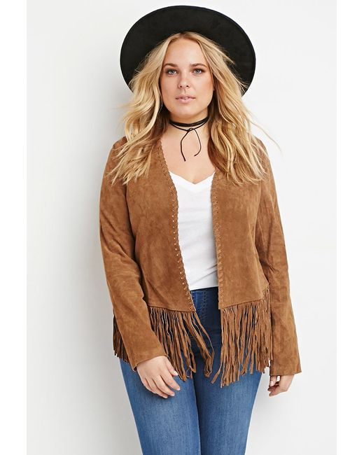 Forever 21 | Brown Plus Size Genuine Suede Fringed Jacket | Lyst