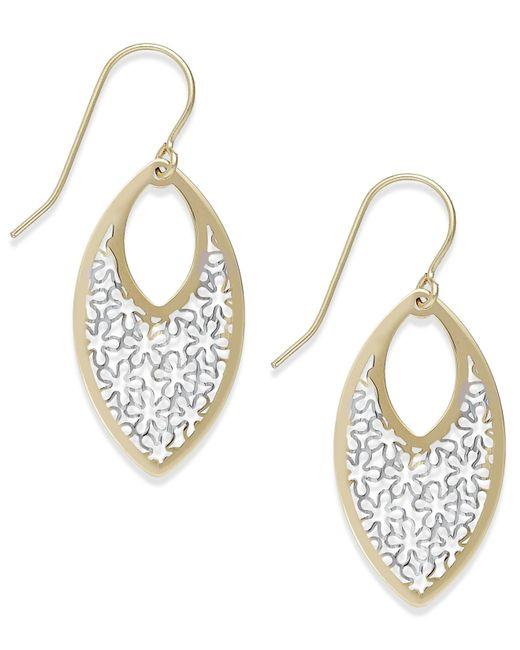 Macy's | Metallic Two-tone Fancy Teardrop Earrings In 10k Gold | Lyst