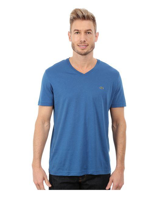 Lacoste | Blue Short Sleeve V-neck Pima Jersey Tee Shirt for Men | Lyst