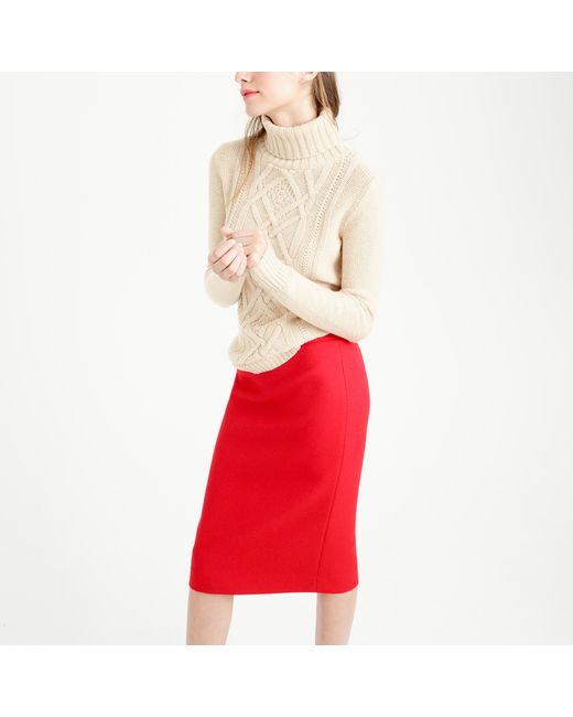 J.Crew   Red Petite No. 2 Pencil Skirt In Double-serge Wool   Lyst