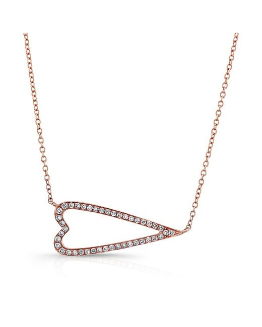 Anne Sisteron - Metallic 14kt Rose Gold Diamond Sideways Heart Necklace - Lyst