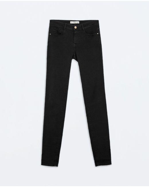 Zara | Black Skinny Peach Finish Trousers | Lyst