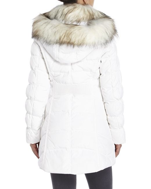 Laundry By Shelli Segal Hooded Faux Fur Trim Down Coat In