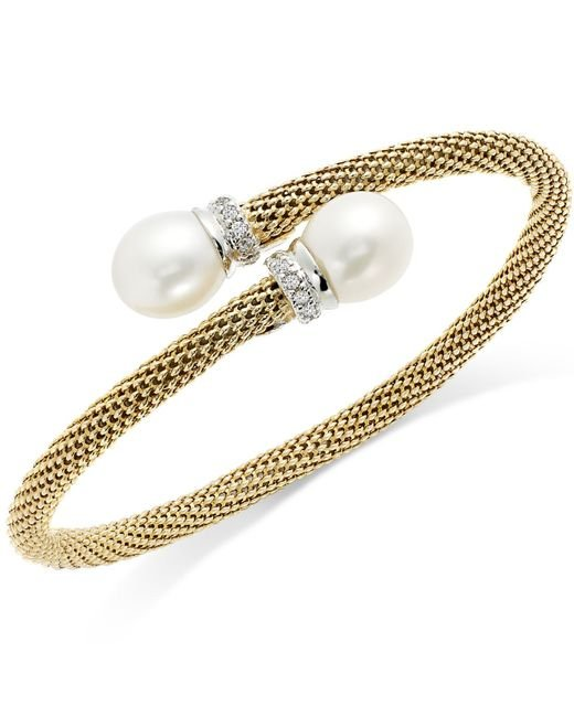 Macy's | Metallic Cultured Freshwater Pearl And Cubic Zirconia Mesh Cuff Bracelet In 14k Gold Over Sterling Silver (10mm) | Lyst