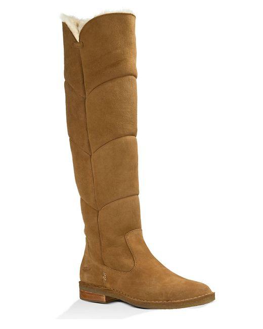 ugg knee high sheepskin boots in brown chestnut