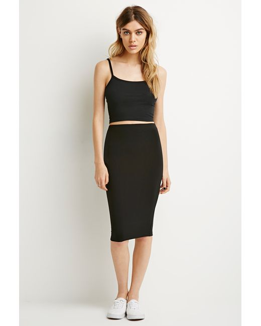 Forever 21 | Black Stretch Knit Pencil Skirt | Lyst