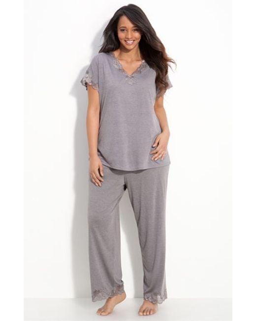 Natori | Gray 'zen Floral' Pajamas | Lyst
