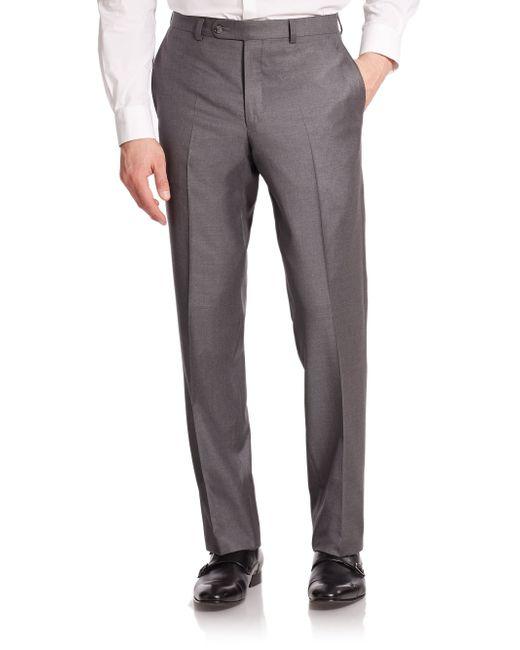 Saks Fifth Avenue | Gray Wool Dress Pants for Men | Lyst