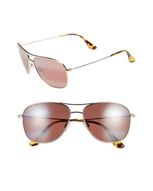 Maui Jim | Metallic 'cliff House - Polarizedplus' 59mm Metal Aviator Sunglasses | Lyst