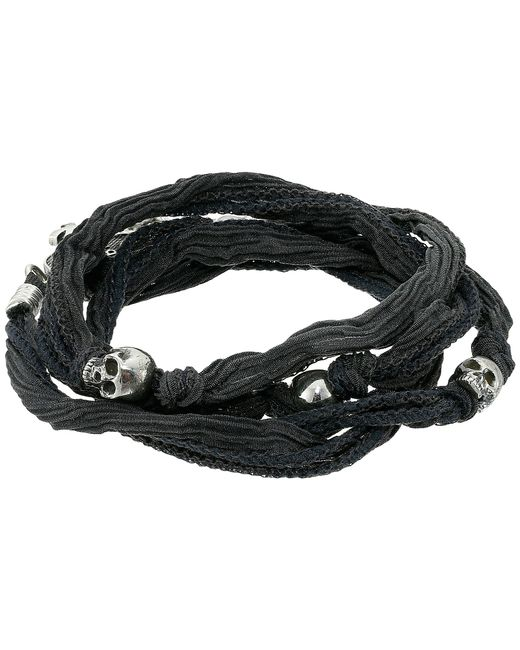 King Baby Studio | Gray Multi Wrap Charcoal Silk Bracelet With Skulls | Lyst