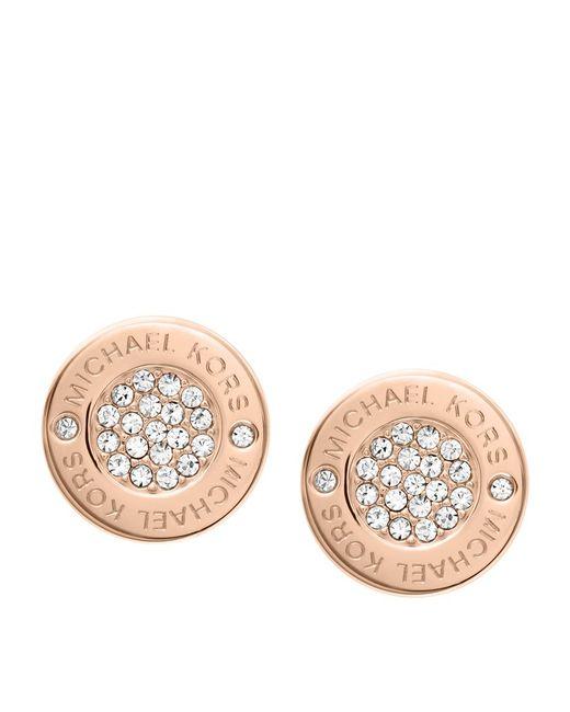 Michael Kors | Metallic Pavã© Logo Earrings | Lyst