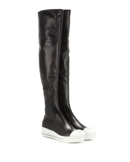 Miu miu Leather Platform Over-the-knee Boots in Black ...