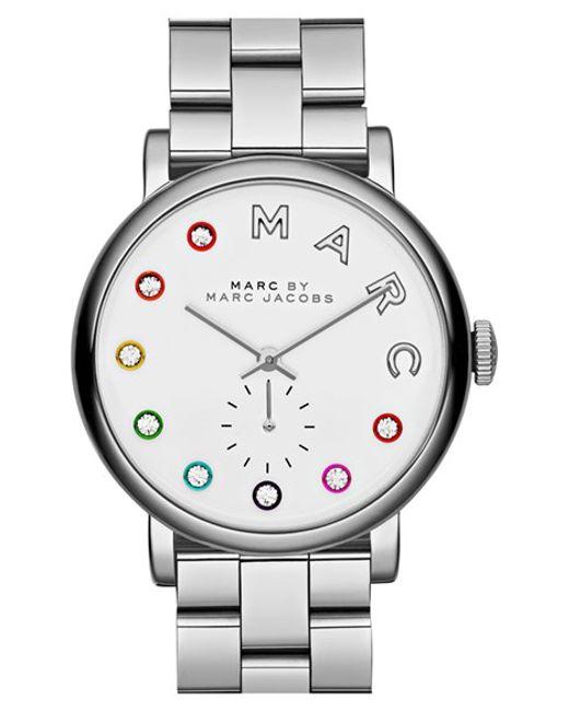 Marc Jacobs | Metallic 'baker' Crystal Index Bracelet Watch | Lyst