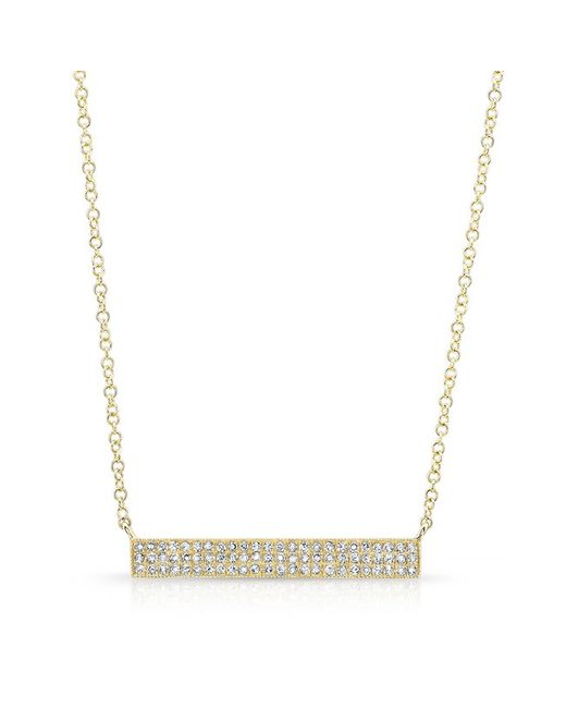 Anne Sisteron | Metallic 14kt Yellow Gold Diamond Wide Bar Necklace | Lyst