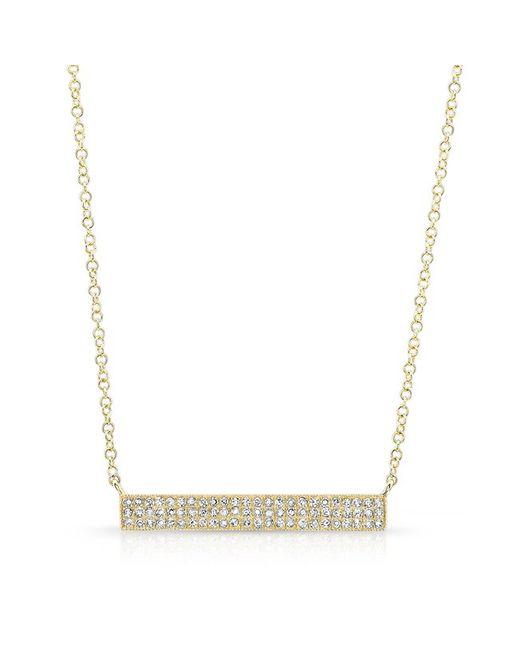 Anne Sisteron | Metallic 14kt Rose Gold Diamond Wide Bar Necklace | Lyst