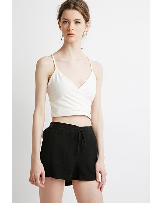 Forever 21 | Black Contemporary Life In Progress Linen-blend Drawstring Shorts | Lyst
