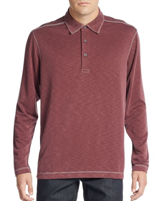 Saks Fifth Avenue | Purple Knit Long-sleeve Polo Shirt for Men | Lyst